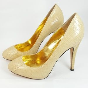 Bebe Leather Snake Print Round Toe Stiletto Heels